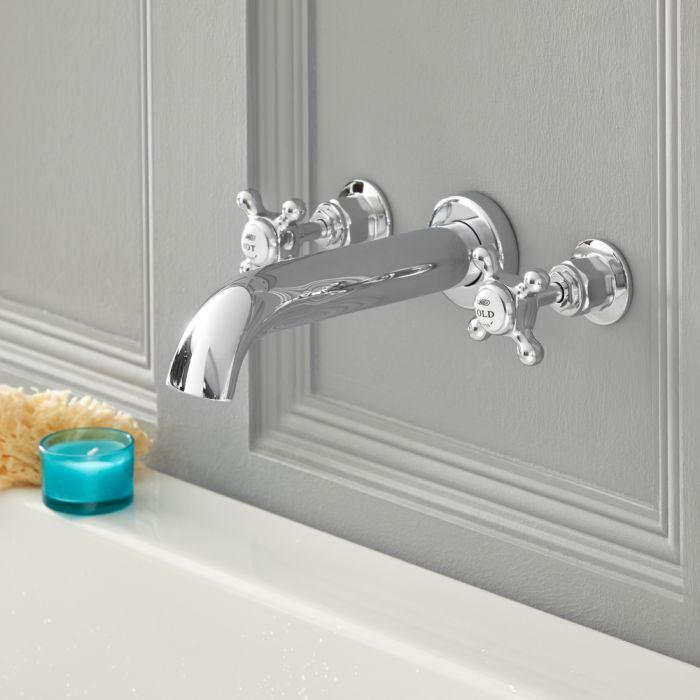 Robinet baignoire mural rétro à croisillon 3 trous - choix de finitions - Elizabeth