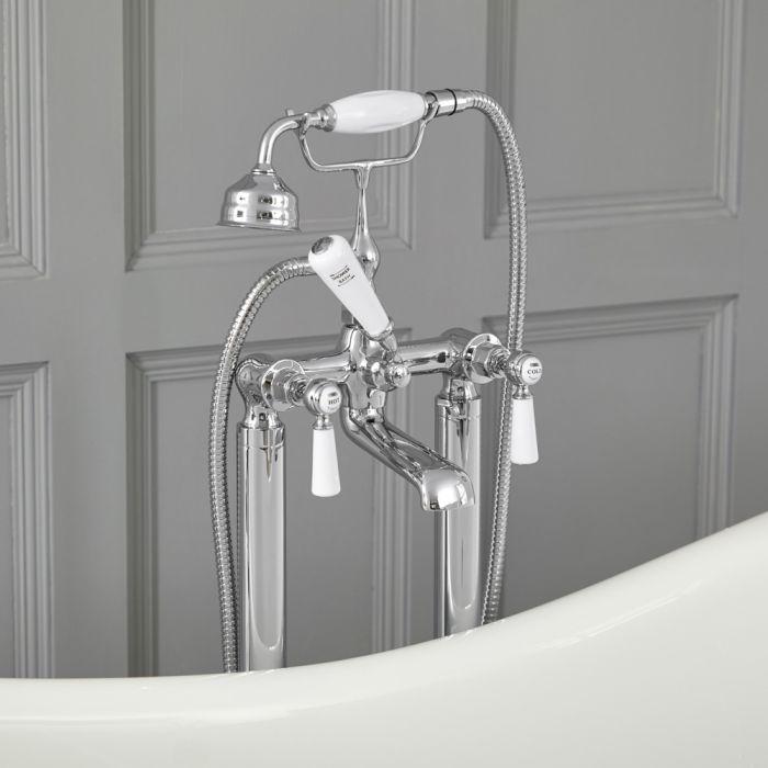 Robinet bain douche îlot rétro – Commandes leviers – Chromé et blanc - Elizabeth