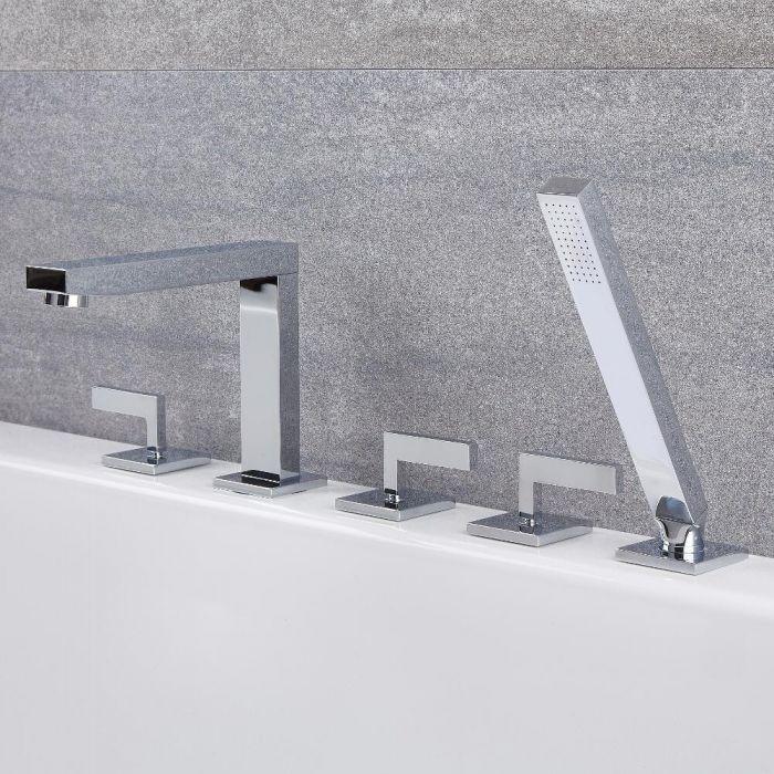 Robinet bain douche moderne – 5 trous de robinetterie – Chromé - Kubix