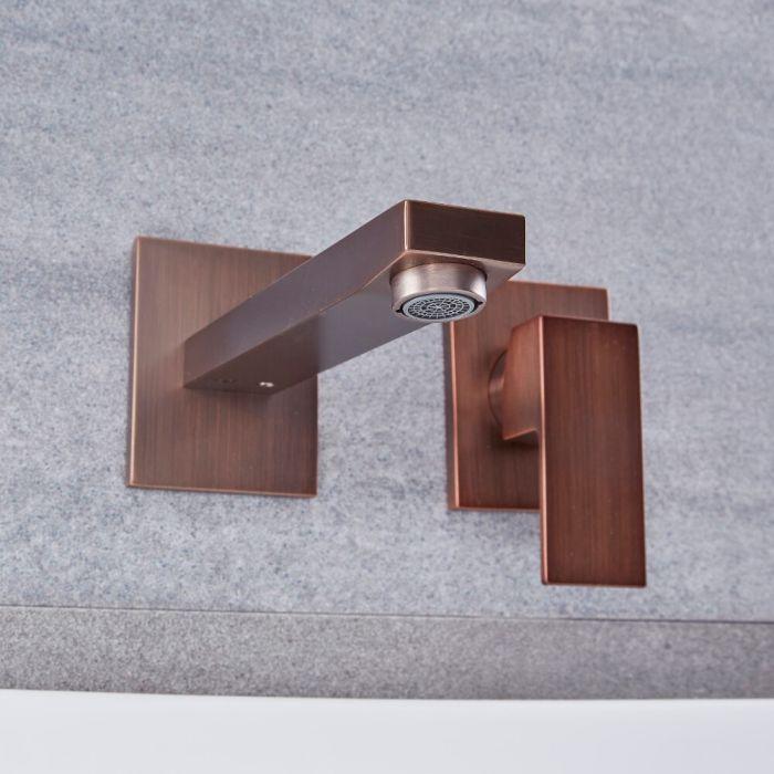 Mitigeur lavabo mural moderne – Bronze huilé - Kubix