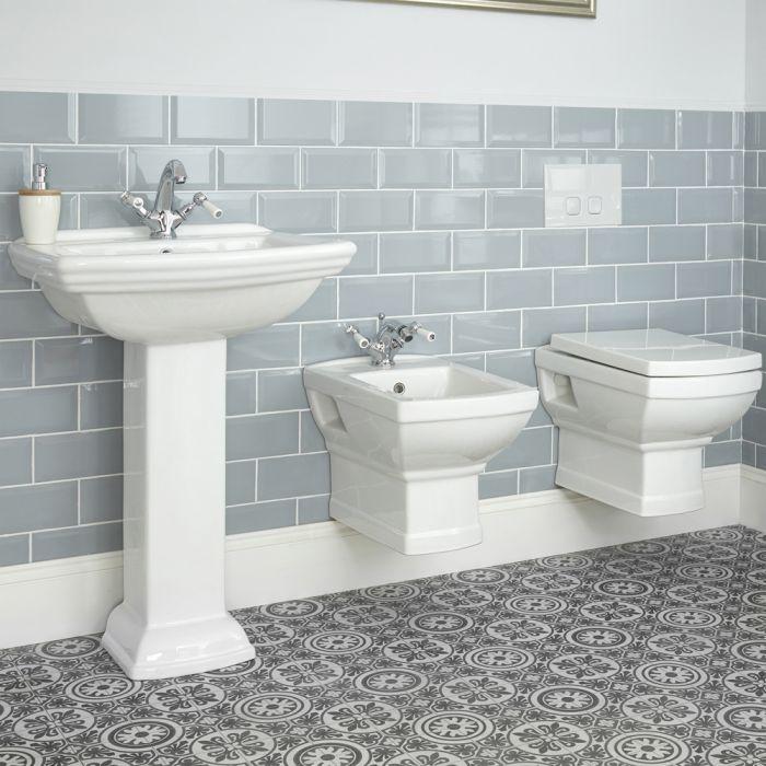 Cuvette WC et bidet suspendus rétro avec choix de lavabo - Chester