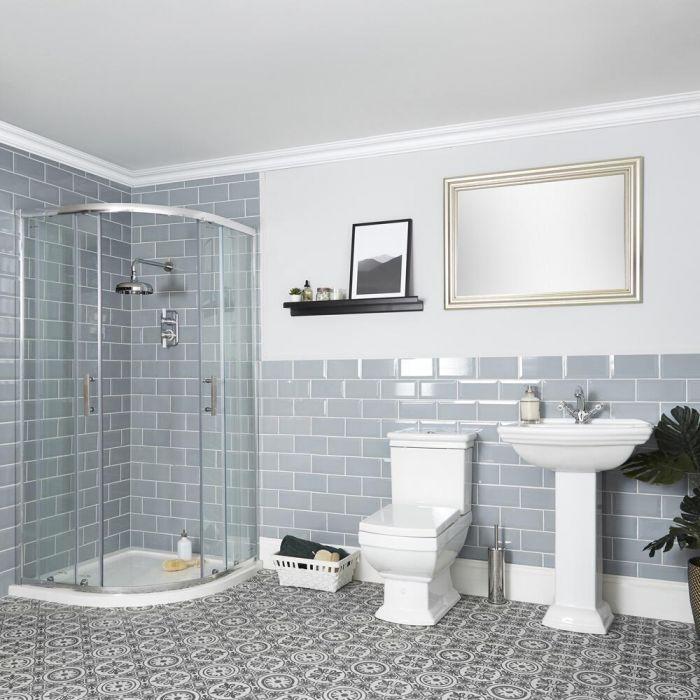Ensemble de douche avec cabine de douche quart de cercle, WC et lavabo sur colonne - Chester