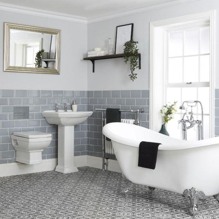 Ensemble salle de bain avec baignoire îlot, WC suspendu et lavabo sur colonne - Chester