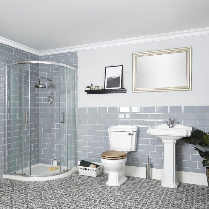 Ensemble douche avec cabine de douche quart de cercle, WC et lavabo sur colonne - Oxford