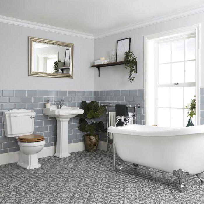 Ensemble salle de bain avec baignoire îlot, WC et lavabo sur colonne - Oxford