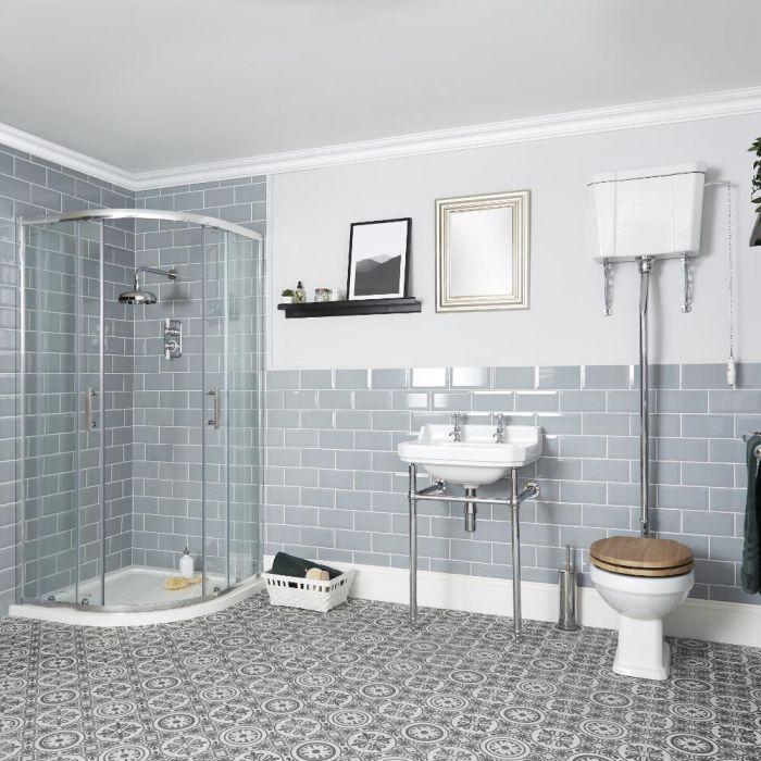 Ensemble cabine de douche quart de cercle, WC avec réservoir haut et lavabo sur pieds - Richmond