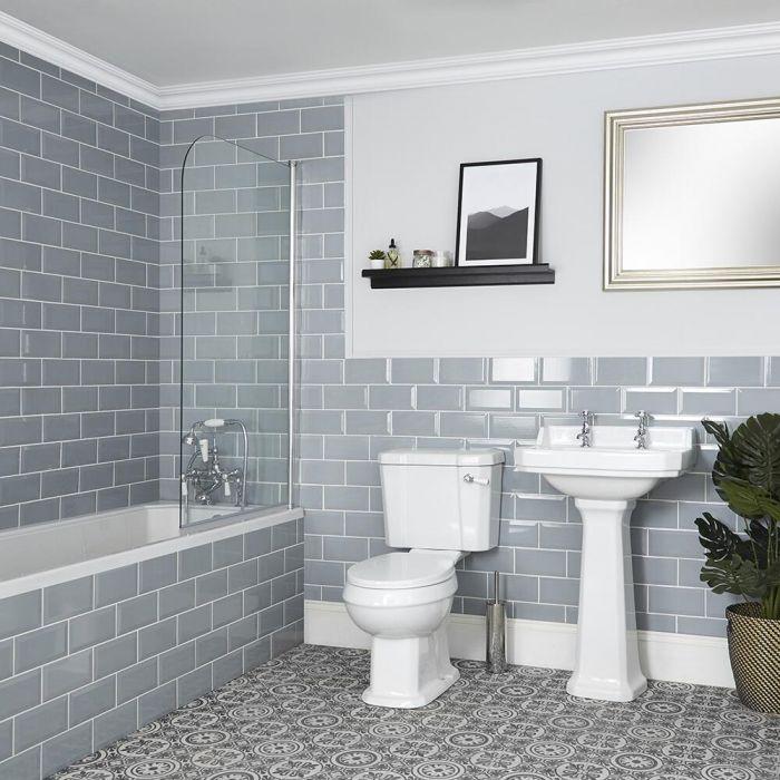 Ensemble salle de bain rétro avec baignoire, WC et lavabo sur colonne - Richmond