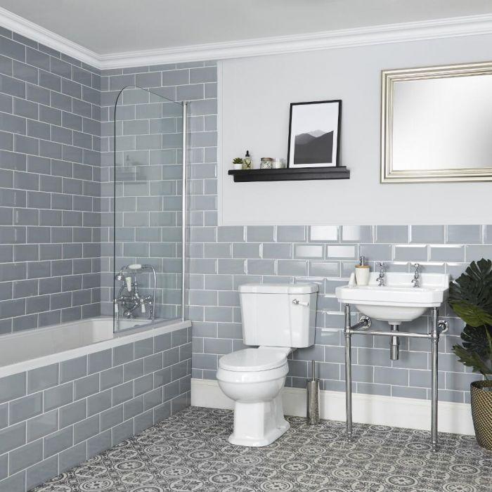 Ensemble salle de bain rétro avec baignoire, WC et lavabo sur pieds - Richmond