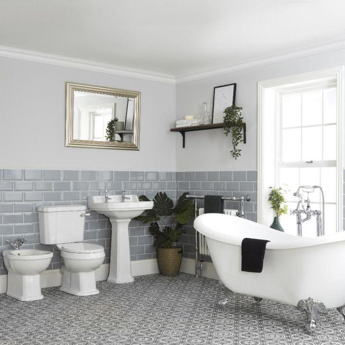 Ensemble baignoire îlot, WC, lavabo sur colonne et bidet - Richmond