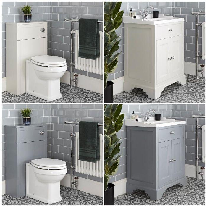 Meuble sous lavabo rétro et ensemble WC à poser – 63 cm – Thornton
