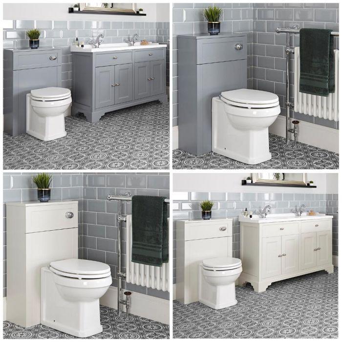 Meuble sous lavabo rétro et ensemble WC à poser – 120 cm – Thornton