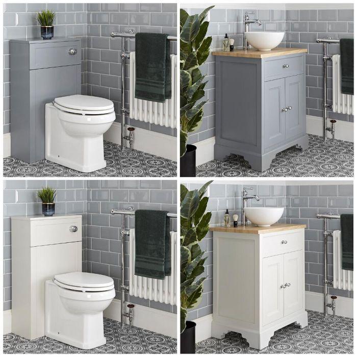 Meuble sous lavabo rétro et ensemble WC à poser – 64,5 cm – Thornton