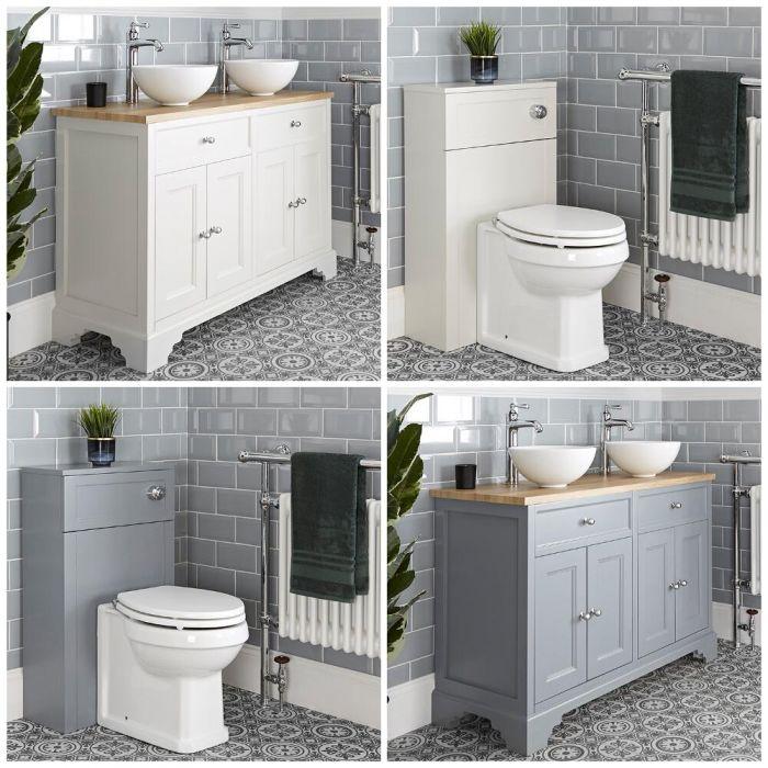 Meuble sous lavabo rétro avec vasque et ensemble WC à poser – 120 cm – Thornton