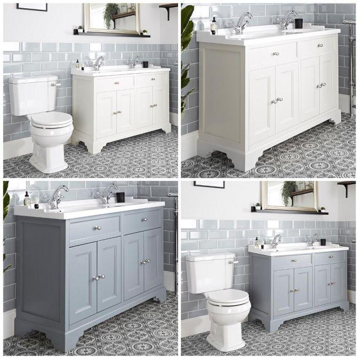 Meuble sous lavabo rétro et pack WC – 120 cm – Thornton