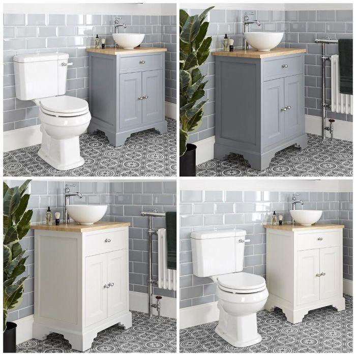 Meuble sous lavabo rétro avec vasque à poser et pack WC – 64,5 cm – Thornton