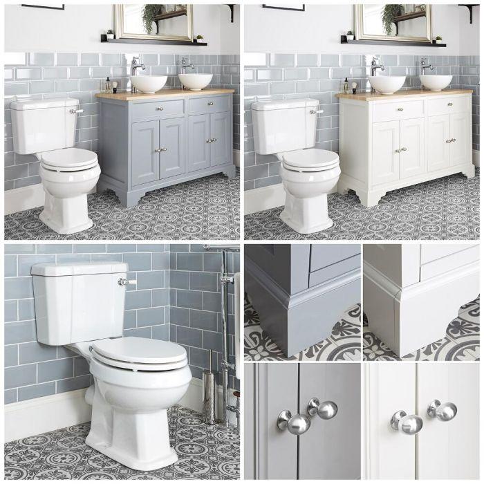 Meuble sous lavabo rétro avec vasques à poser et pack WC – 120 cm – Thornton