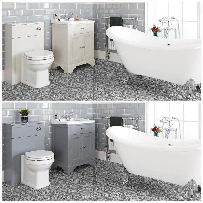 Ensemble de salle de bain rétro avec baignoire îlot, meuble sous lavabo 63 cm et ensemble WC à poser – Thornton
