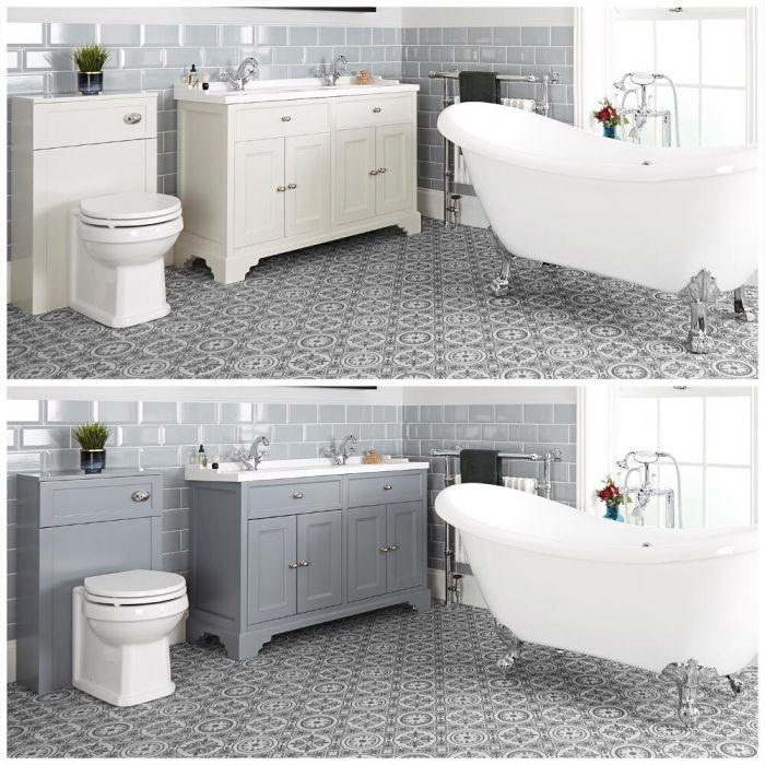Ensemble de salle de bain rétro avec baignoire îlot, meuble sous lavabo 120 cm et ensemble WC à poser – Thornton