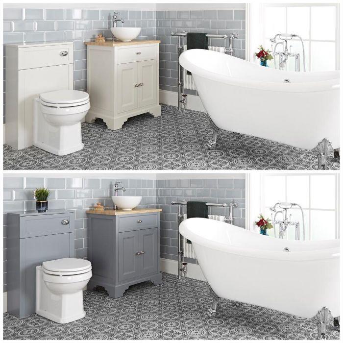 Ensemble de salle de bain rétro avec baignoire îlot, meuble sous lavabo 64,5 cm avec vasque à poser et ensemble WC à poser – Thornton