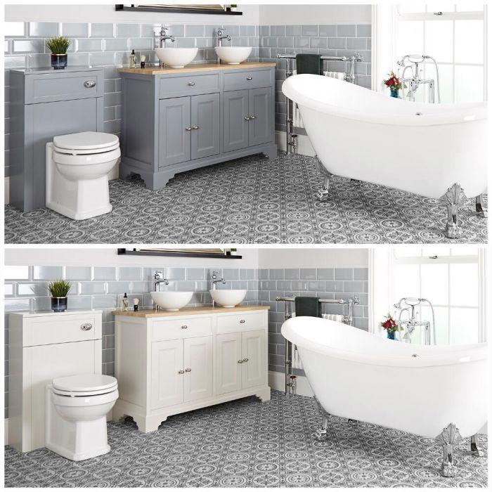 Ensemble de salle de bain rétro avec baignoire îlot, meuble sous lavabo 120 cm avec vasques à poser et ensemble WC à poser – Thornton