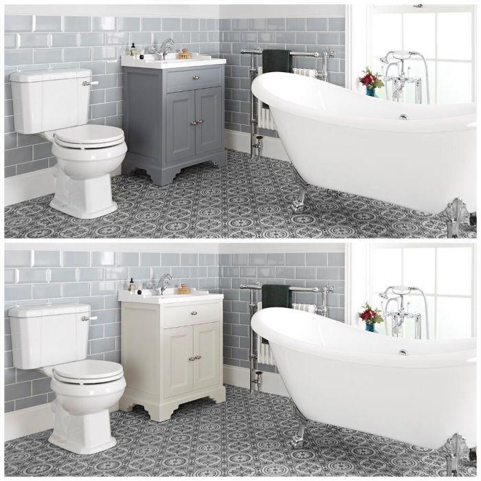 Ensemble de salle de bain rétro avec baignoire îlot, meuble sous lavabo 63 cm et pack WC – Thornton
