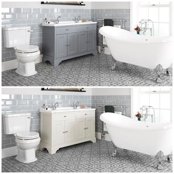 Ensemble de salle de bain rétro avec baignoire îlot, meuble sous lavabo 120 cm et pack WC – Thornton
