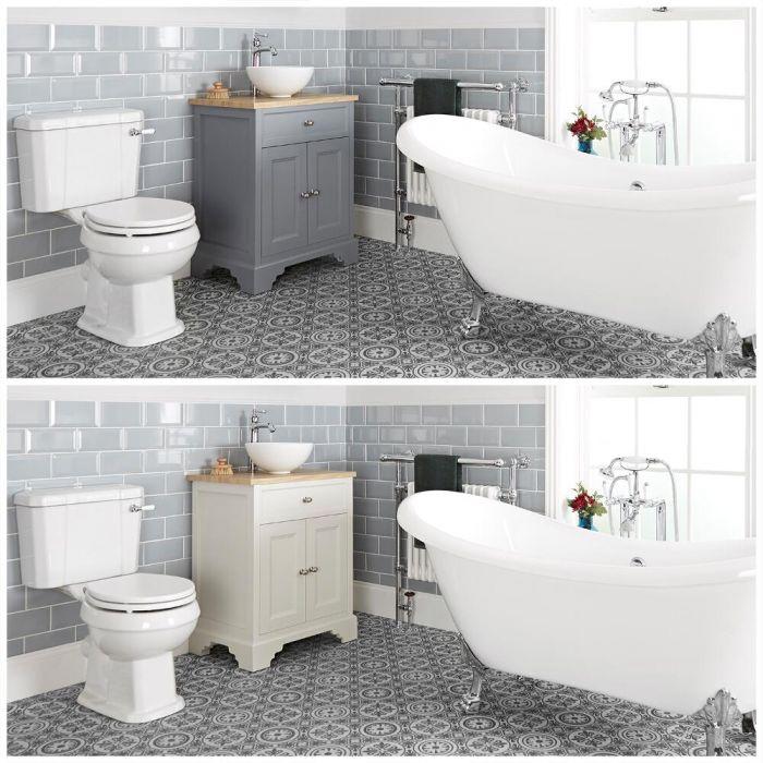 Ensemble de salle de bain rétro avec baignoire îlot, meuble sous lavabo 64,5 cm avec vasque à poser et pack WC – Thornton
