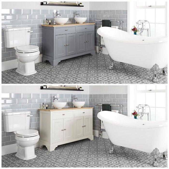 Ensemble de salle de bain rétro avec baignoire îlot, meuble sous lavabo 120 cm avec vasques à poser et pack WC – Thornton