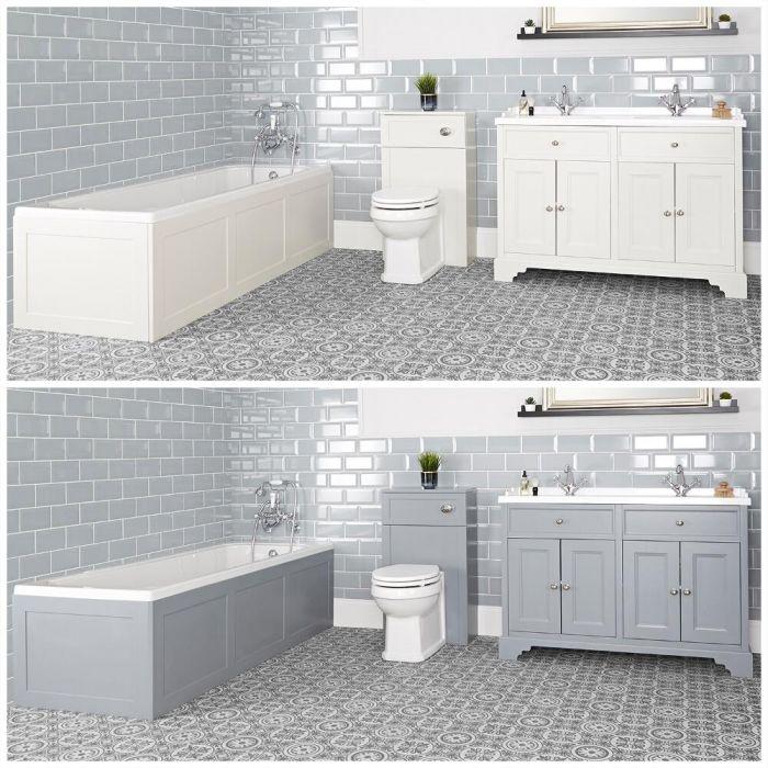 Ensemble de salle de bain rétro avec baignoire, meuble sous lavabo 120 cm et ensemble WC à poser – Thornton