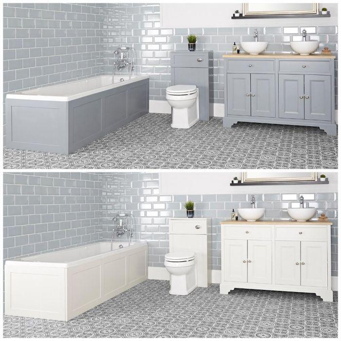 Ensemble de salle de bain rétro avec baignoire, meuble sous lavabo 120 cm avec vasques à poser et ensemble WC à poser – Thornton
