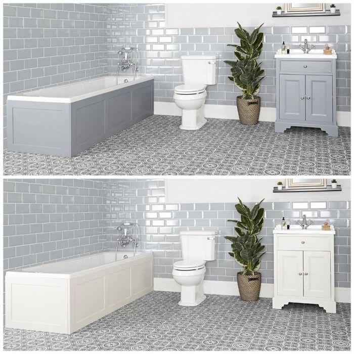 Ensemble de salle de bain rétro avec baignoire, meuble sous lavabo 63 cm et pack WC – Thornton