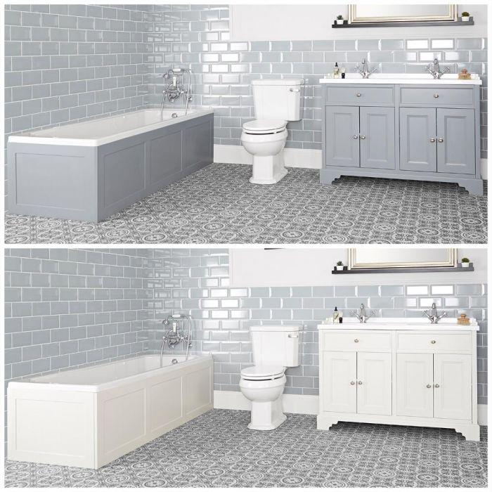 Ensemble de salle de bain rétro avec baignoire, meuble sous lavabo 120 cm et pack WC – Thornton