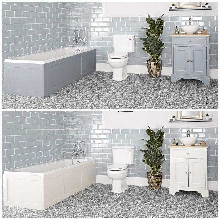 Ensemble de salle de bain rétro avec baignoire, meuble sous lavabo 64,5 cm avec vasque à poser et pack WC – Thornton