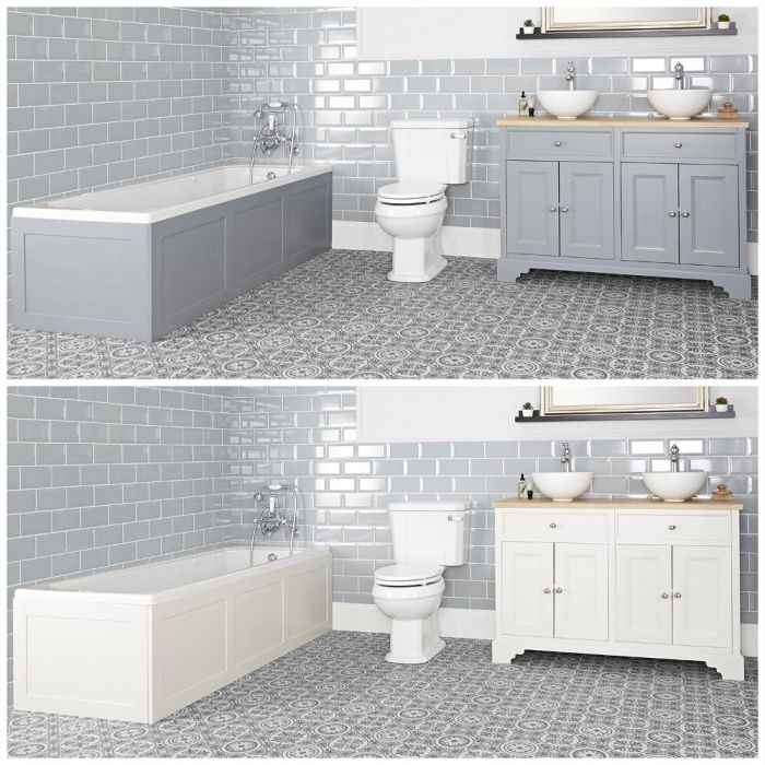 Ensemble de salle de bain rétro avec baignoire, meuble sous lavabo 120 cm avec vasques à poser et pack WC – Thornton