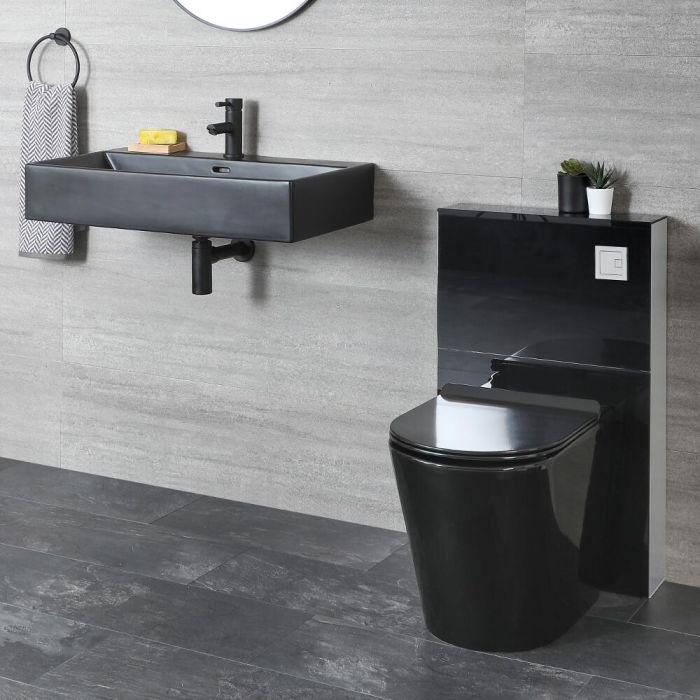 Ensemble WC à poser avec meuble et lavabo suspendu – Noir - Nox