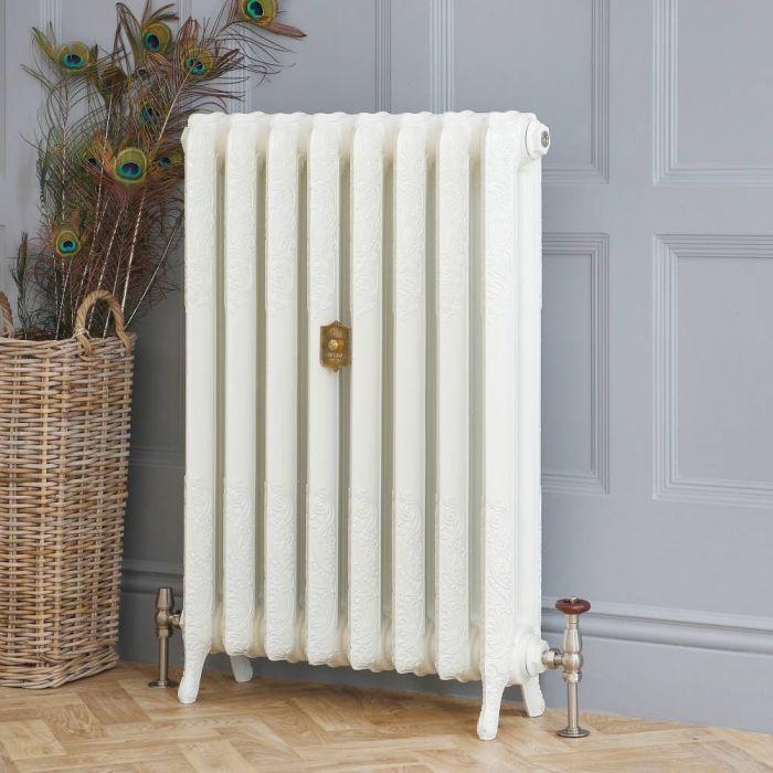 Radiateur fonte fleuri – 95 cm – Blanc porcelaine – Tailles multiples – Charlotte