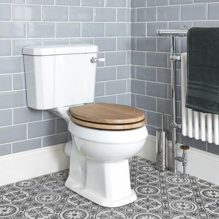 WC avec réservoir rétro – Abattant effet chêne – Blanc - Richmond