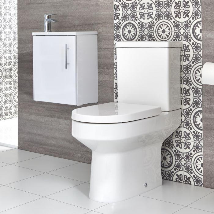 Ensemble meuble lave-mains suspendu avec plan vasque et pack WC – 40 cm – Choix de finition - Covelly
