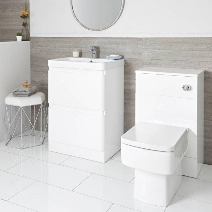 Meuble sous lavabo 60 cm et meuble WC avec WC à poser – Blanc - Daxon