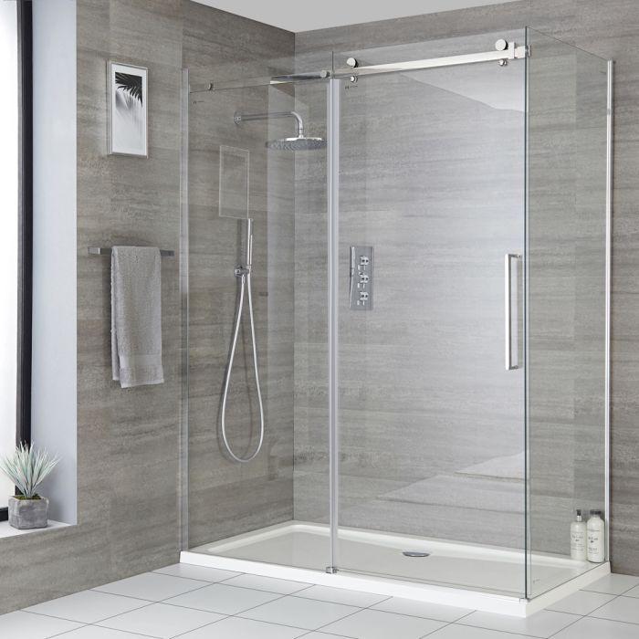 Cabine de douche d'angle à porte coulissante sans cadre – Tailles multiples - Portland