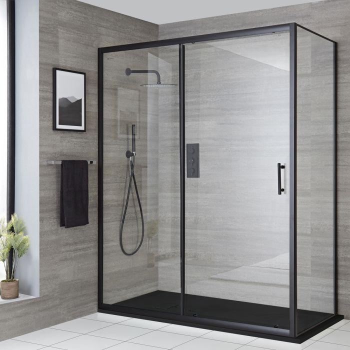 Cabine de douche d'angle à porte coulissante avec receveur de douche – Noir – Tailles multiples - Nox