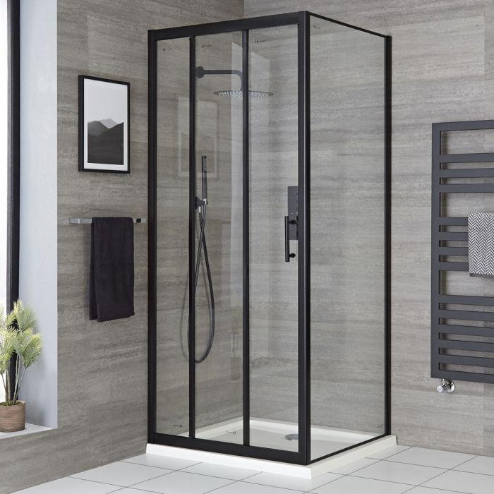 Cabine de douche d'angle à porte coulissante et receveur – Noir – Tailles multiples – Nox