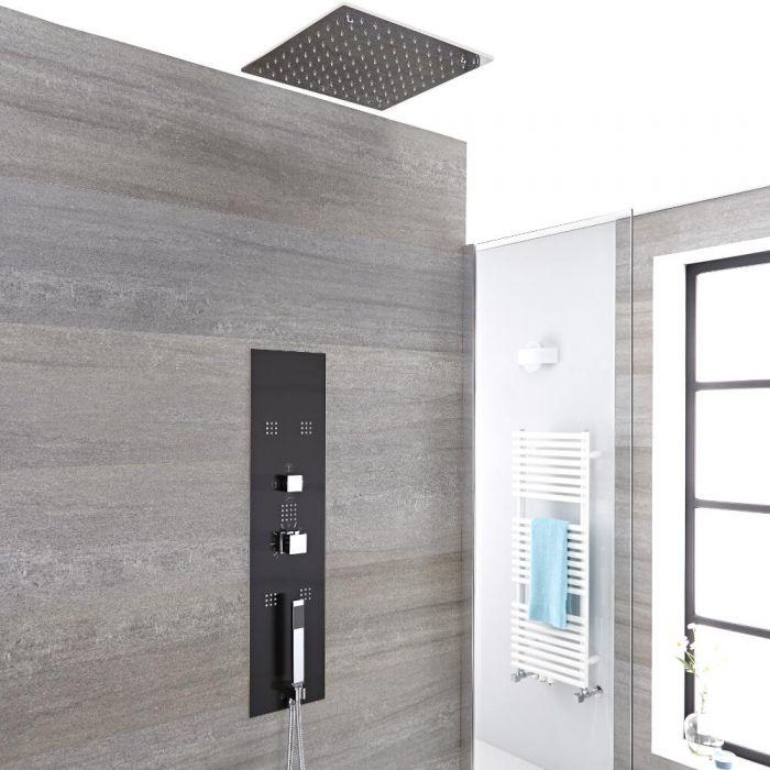 Colonne de douche encastrée avec pommeau encastré carré, douchette et buses hydromassantes – Chromé et gris - Llis