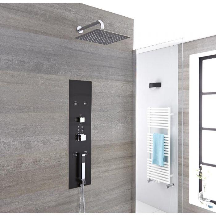 Colonne de douche encastrée avec pommeau mural, douchette et buses hydromassantes – Chromé et gris - Llis
