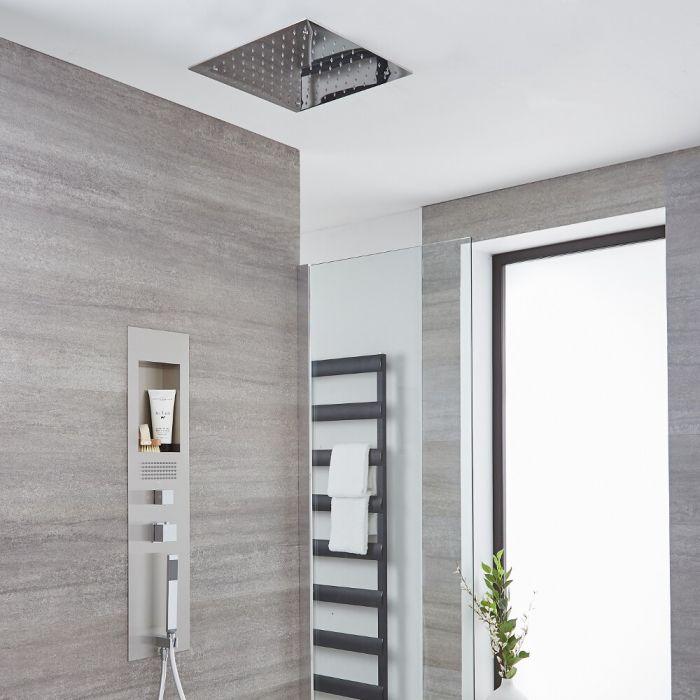 Colonne de douche encastrée avec pommeau plafonnier encastré carré de 40 cm – Acier brossé - Llis