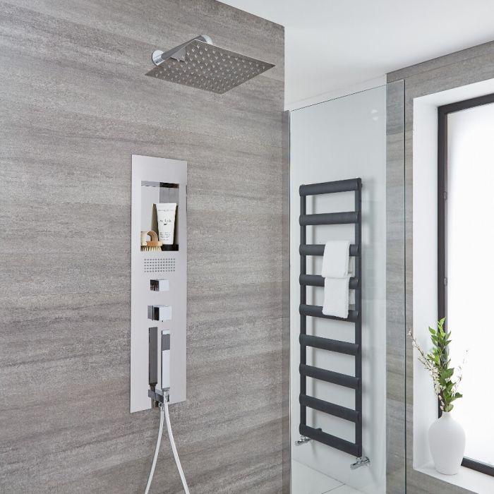 Colonne de douche encastrée avec pommeau carré de 30 cm et bras mural – Chromé - Llis