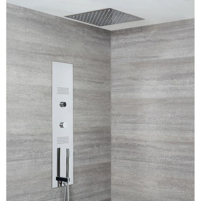 Colonne de douche digitale encastrée & pommeau de douche carré encastré 40 cm - Narus
