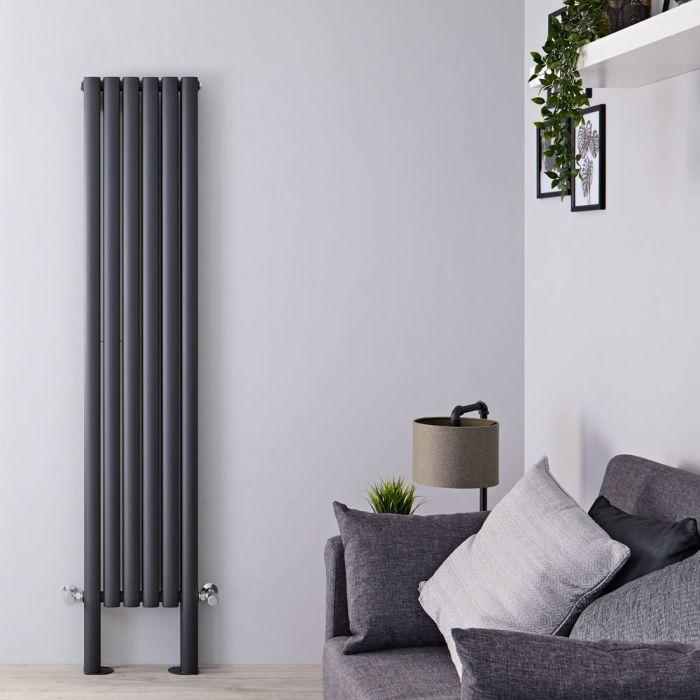 Radiateur design vertical avec pieds de radiateur – Anthracite – 180 cm x 35,4 cm – Double rangs – Vitality Plus