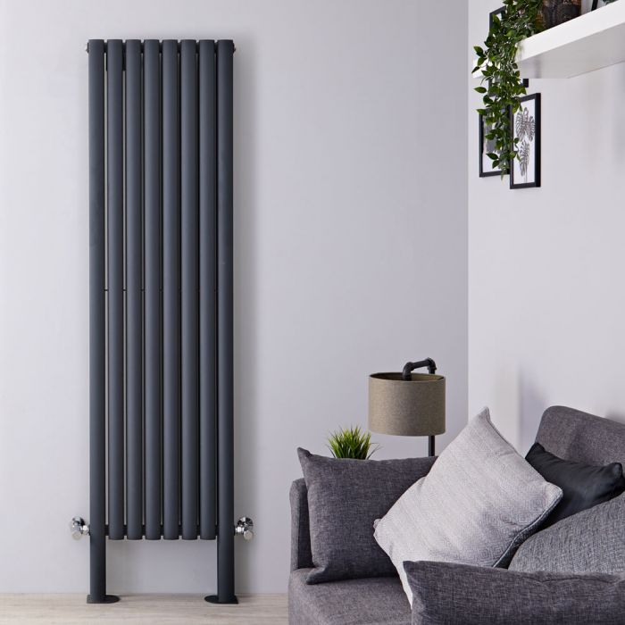 Radiateur design vertical – Anthracite – 180 cm x 47,2 cm – Double rangs – Avec pieds - Vitality Plus