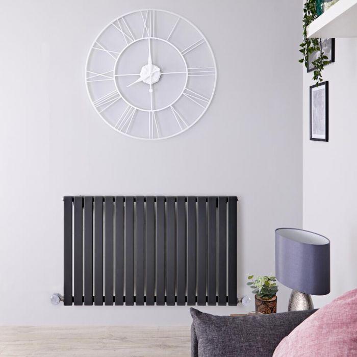 Radiateur design électrique horizontal - Anthracite - 63,5 cm x 100 cm x 5,4 cm – Sloane